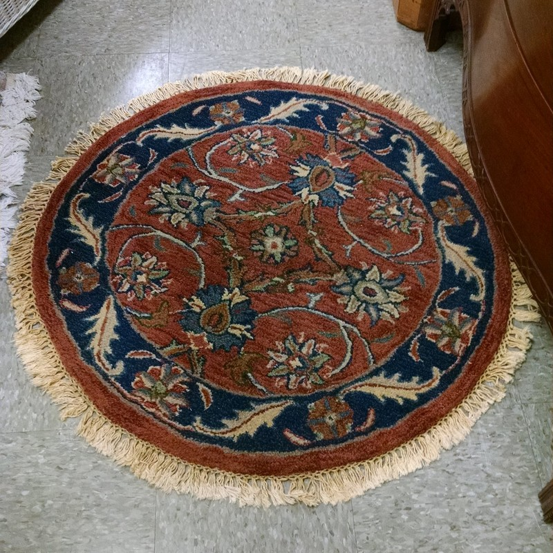 3ft Round India Rug, Brown, Size: None