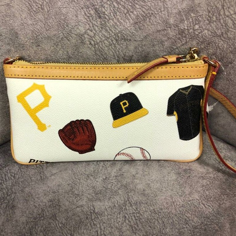 "Dooney & Bourke<br /> Authentic Major League Baseball Leather Wristlet<br /> Original Retail Price; $98.00<br /> Fashion and convenience are found in this Dooney & Bourke MLB Large Slim Stadium wristlet. It's the perfect size for keeping your essentials close. Measures approximately: 4.5"" x 0.75\"" x 8\"". Zipper closure at main pocket. Interior pocket. Adjustable strap length: 7\"". Leather. Spot clean.<br /> Perfect for the ultimate Pirates Fan!!!"