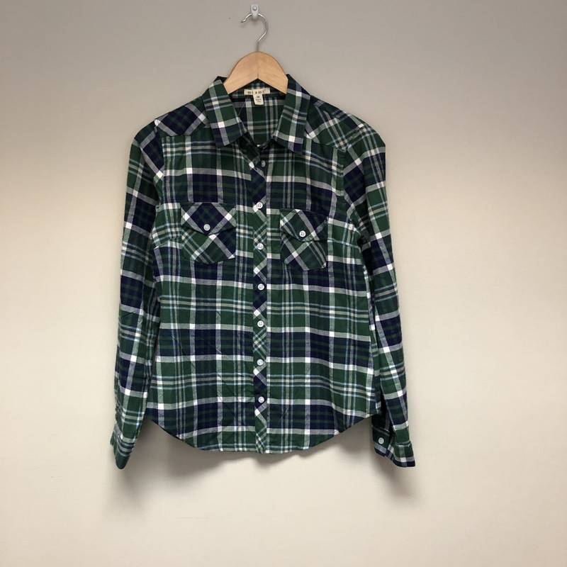 Mi ami Flannel Plaid<br /> Size M<br /> Green/Navy/White<br /> $11.50