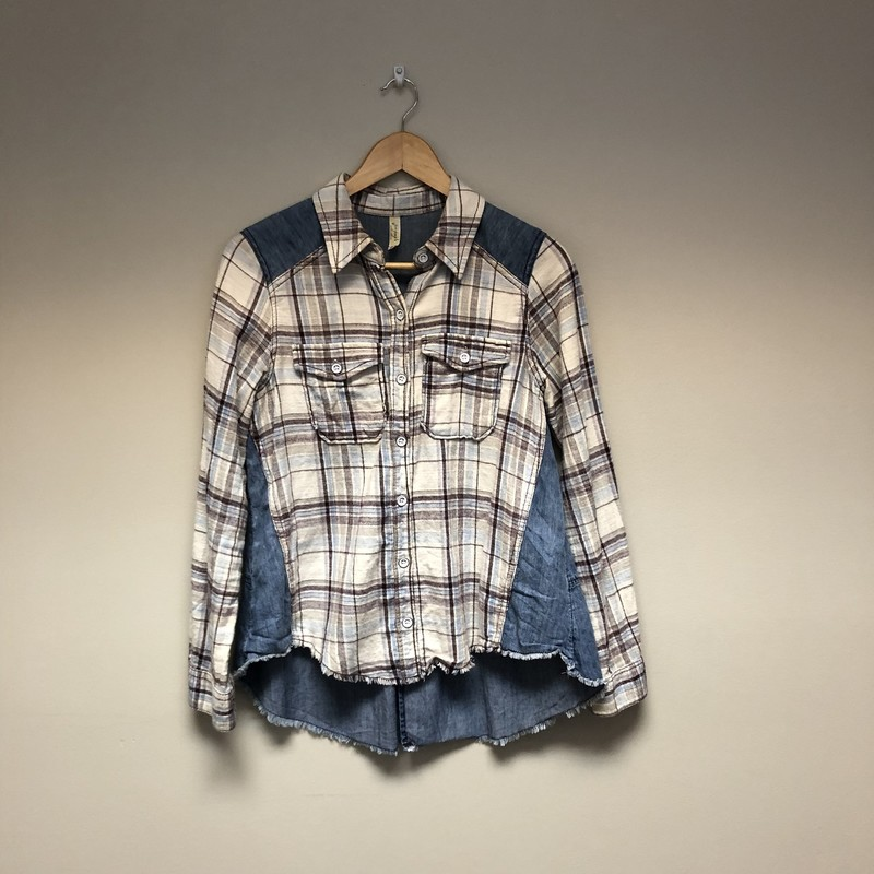 Free People Plaid Denim<br /> Size XS<br /> Denim/Cream<br /> $22.00
