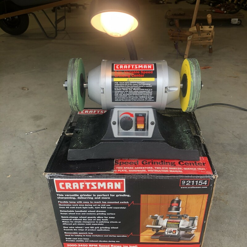 "Craftsman  9-21154 6"" Variable Speed Bench Grinding Center with 2 Strop Wheels."