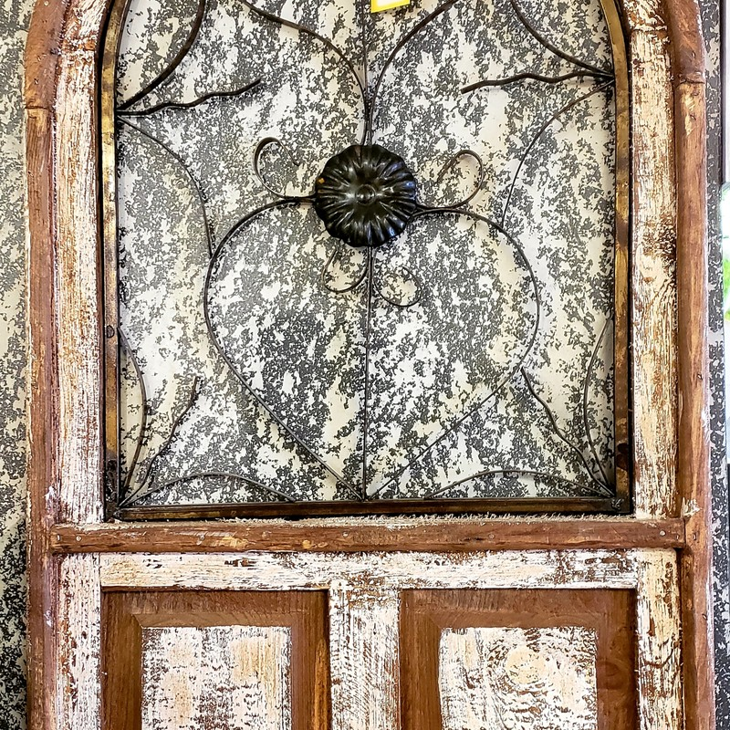 """Ex-large Cathedral Window""<br /> This is a very large wooden cathedral style window with a metal interior. It is made to look weathered and rustic. Great addition to any home. It measures 48"" tall x 23"" wide."