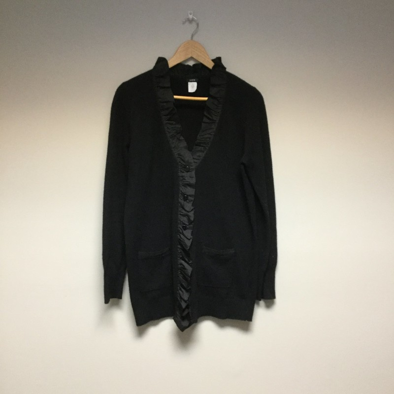 J.Crew Ruffle Button Up Sweater Cardi<br /> Size L<br /> Black<br /> $16.50