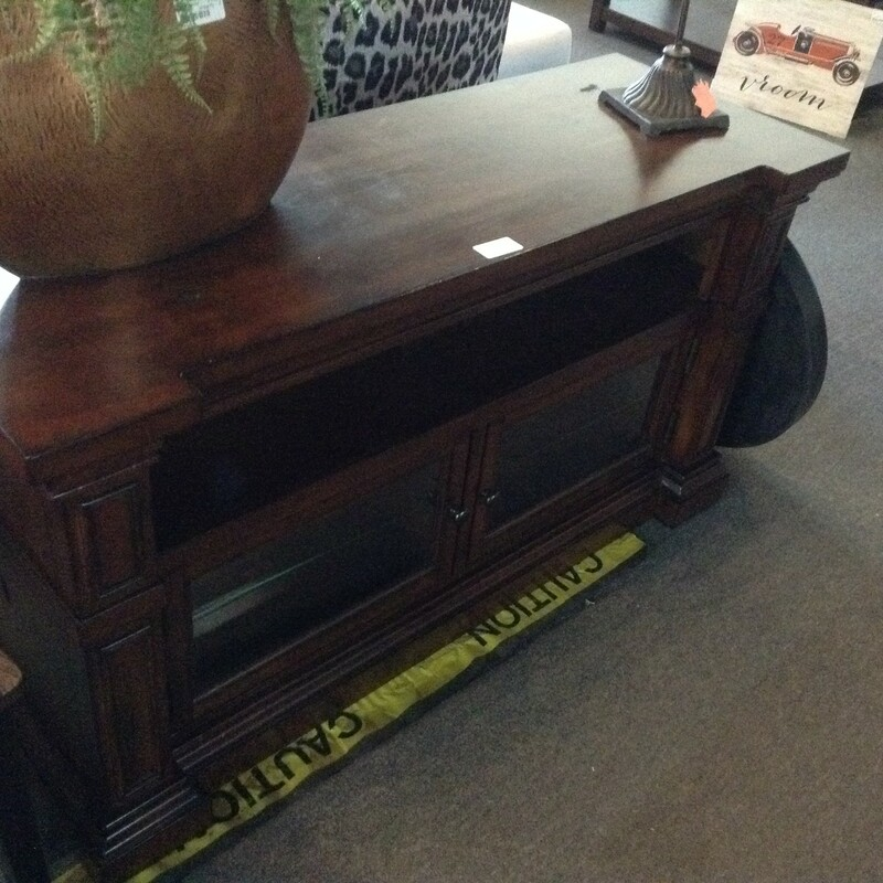 "Wood TV Stand, Wood, 2 Doors<br /> 52"" wide x 19\"" deep x 28\"" tall"