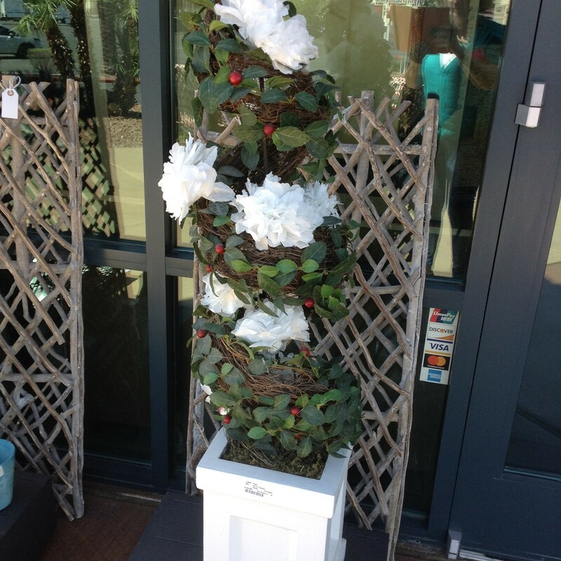 "White Topiary, White Flowers<br /> 52"" tall"
