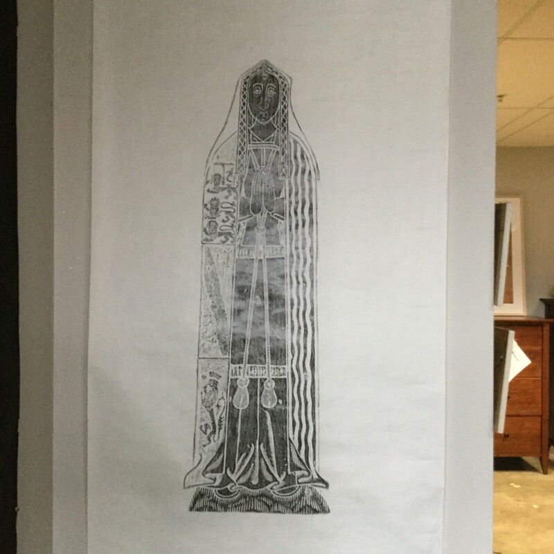 Cathedral Rubbing - Lady Moly, Black On White, Paper