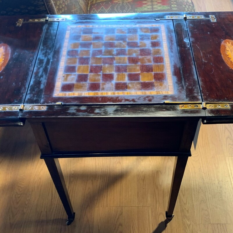 "Inlaid Game Table Shells, Antique, English<br /> Size: 30"" x 20\"" x 20\"""
