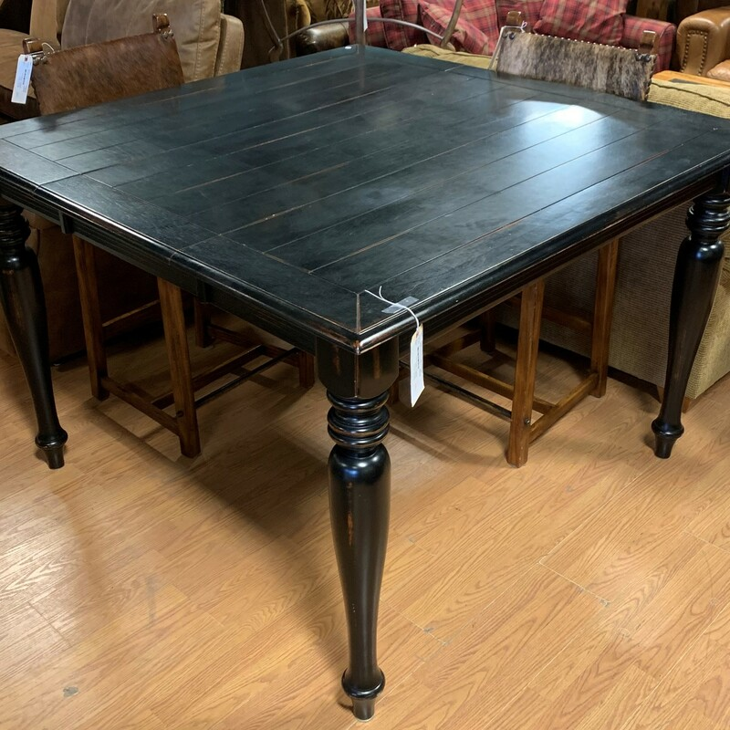 "High Top Dining Table, Blk, 1 Leaf<br /> Size: 54"" x 54\"" x 36\"""