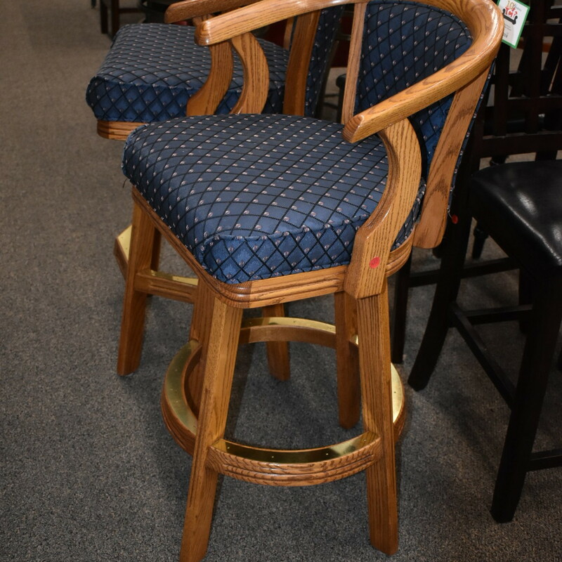 Pair Oak Bar Stools.