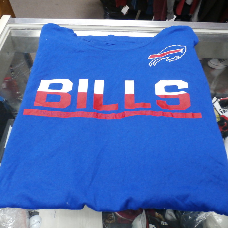 Buffalo Bills Men&#039;s Nike Dri-Fit shirt sleeveless (cut-off) blue size XL #27296<br /> Rating: (see below) 4- Fair Condition<br /> Team: Buffalo Bills<br /> Player: 56<br /> Brand: Nike<br /> Size: Men&#039;s XXL- (Measured Flat: Across chest 24&quot;; Length 28&quot;)<br /> Measured Flat: underarm to underarm; top of shoulder to bottom hem<br /> Color: blue<br /> Style: sleeveless; screen pressed;<br /> Material: 100% polyester<br /> Condition: 4- Fair Condition - wrinkled; sleeves cut off at the seam but not perfectly; pilling and fuzz; logo is worn and faded; 56 &amp; 91 (pre-game &#039;16) written on tag- possibly player worn;<br /> Item #: 27296<br /> Shipping: FREE