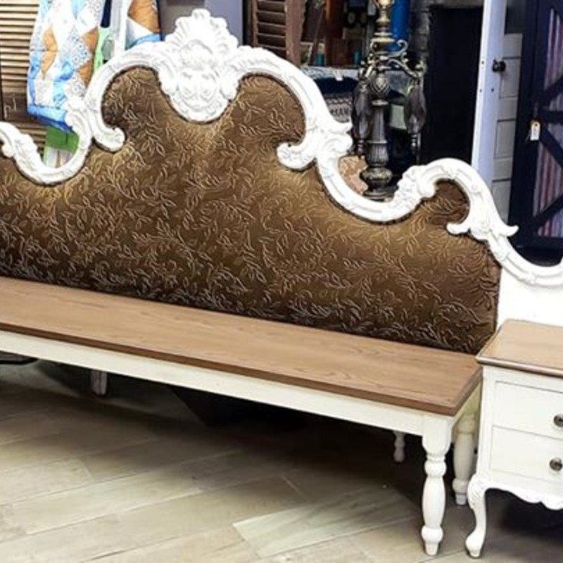 Beautiful antique California king size headboard with attached nightstands. Bench insert was custom made to fit into the headboard. This bench measures an amazing 9.5 feet long! It also has the original fabric on the headboard in great condition. This is a great piece that can either be used as a headboard or a bench. Buzz on in!