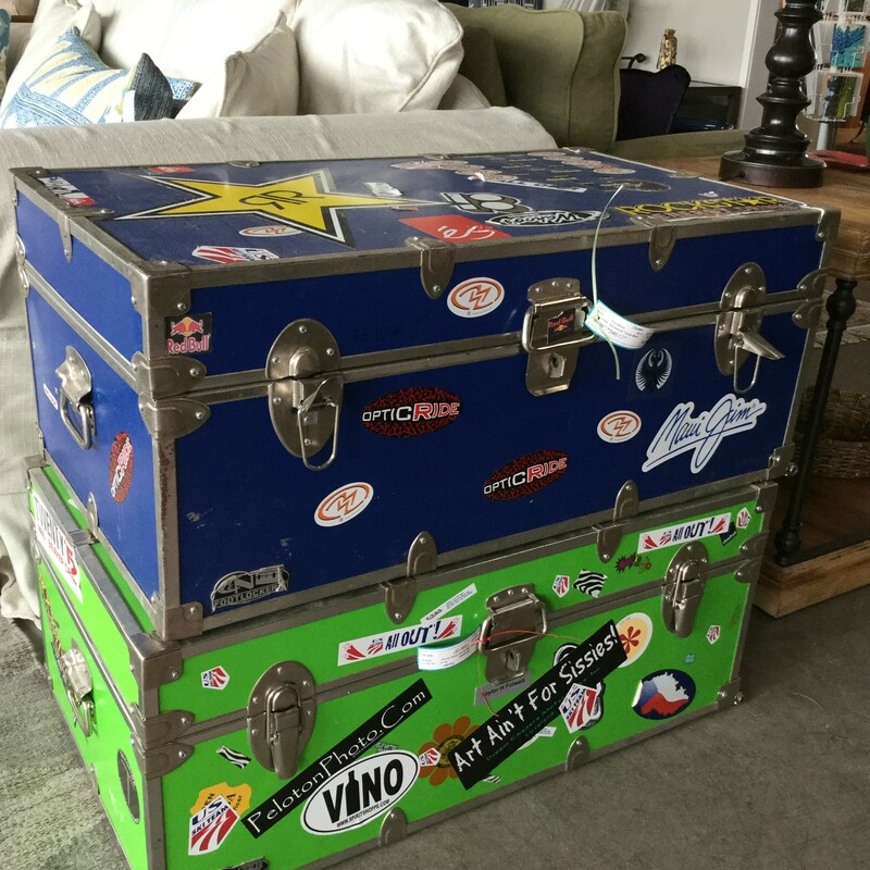 "Stickered Trunk, Blue, As Is, Size: 32""X18\""X13\"""