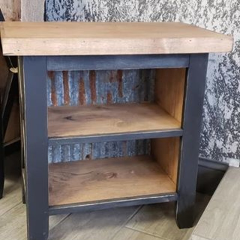 "Custom built rustic end table set. They are painted a matte black on the exterior with the top and interior left the natural wood tone. They measure 24"" wide x 14"" deep x 24"" tall. Will take custom orders for different sizes and colors."