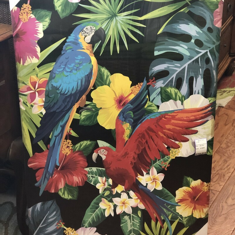 Parrot Canvas Print of Two Large Macaws with Flowers and , New, Size: 23W 35T