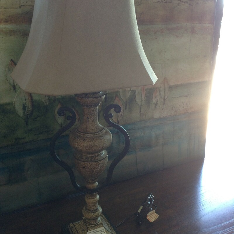 Cream Table Lamp W/ Hand.