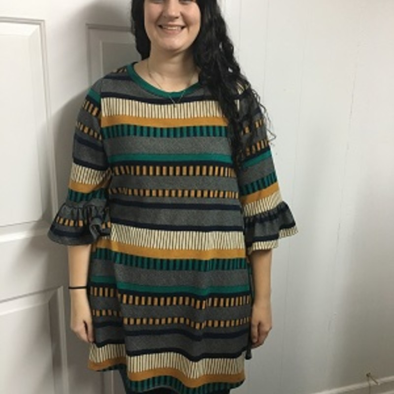 Check out our gorgeous Ruffle Sleeve Striped Dress, it s a must have Dress!! You can wear this to any occasion and its super comfy. The material is made of 98% Polyester 2% Spandex with a length of 35in and it has pockets!