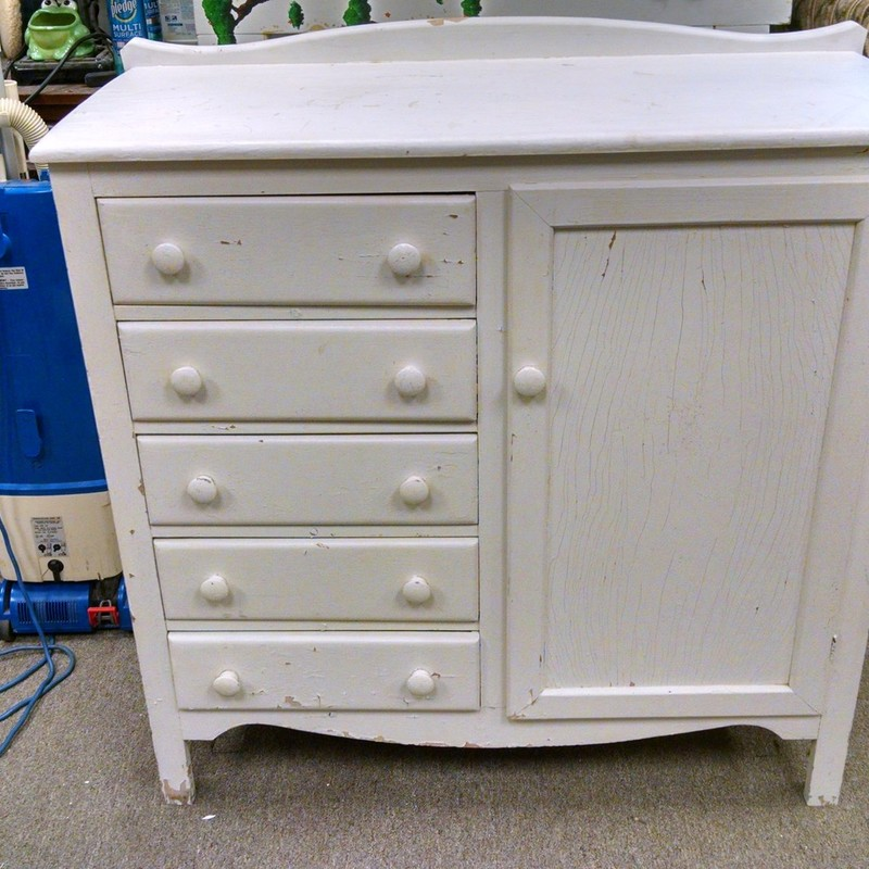5 Drawer/cupboard Cabinet/Dresser, White, Size: 41x18x41
