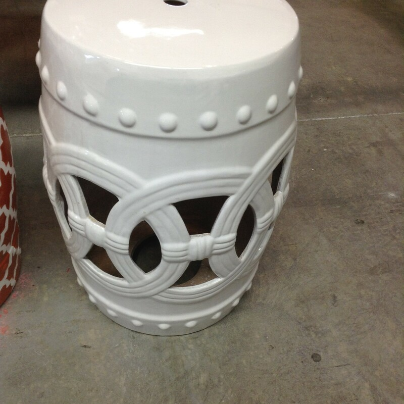 "White Garden Stool, White, Pedestal<br /> 13"" wide x 18\"" tall"