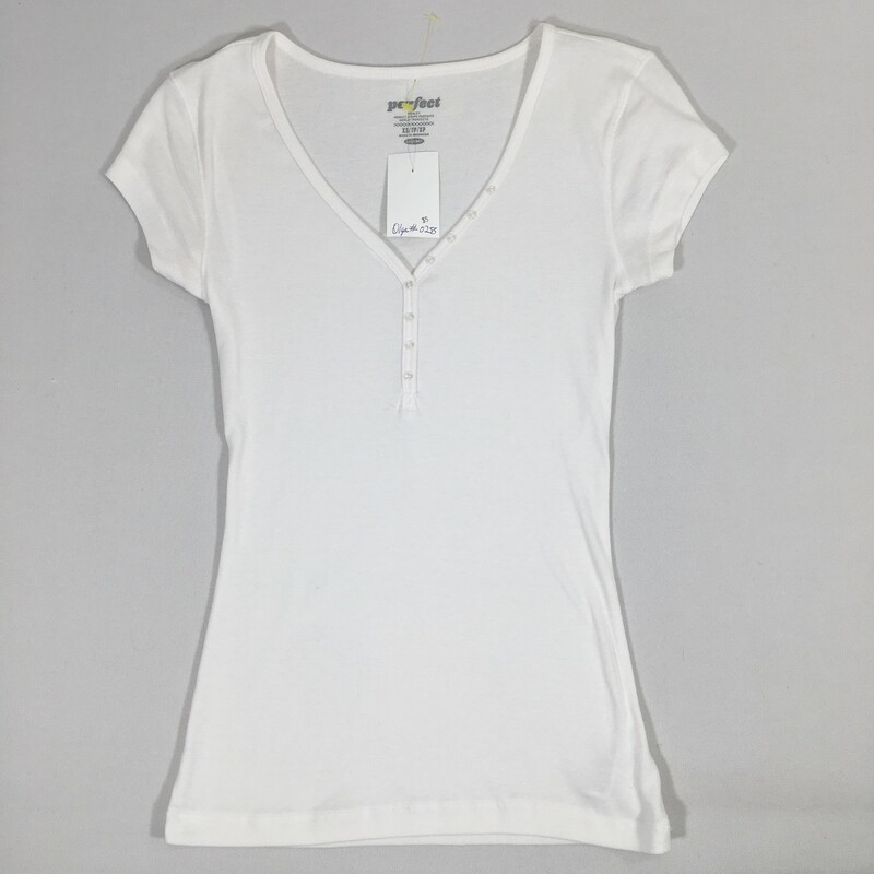 102-253 Old Navy, White, Size: Xs White Short Sleeve Henley Top