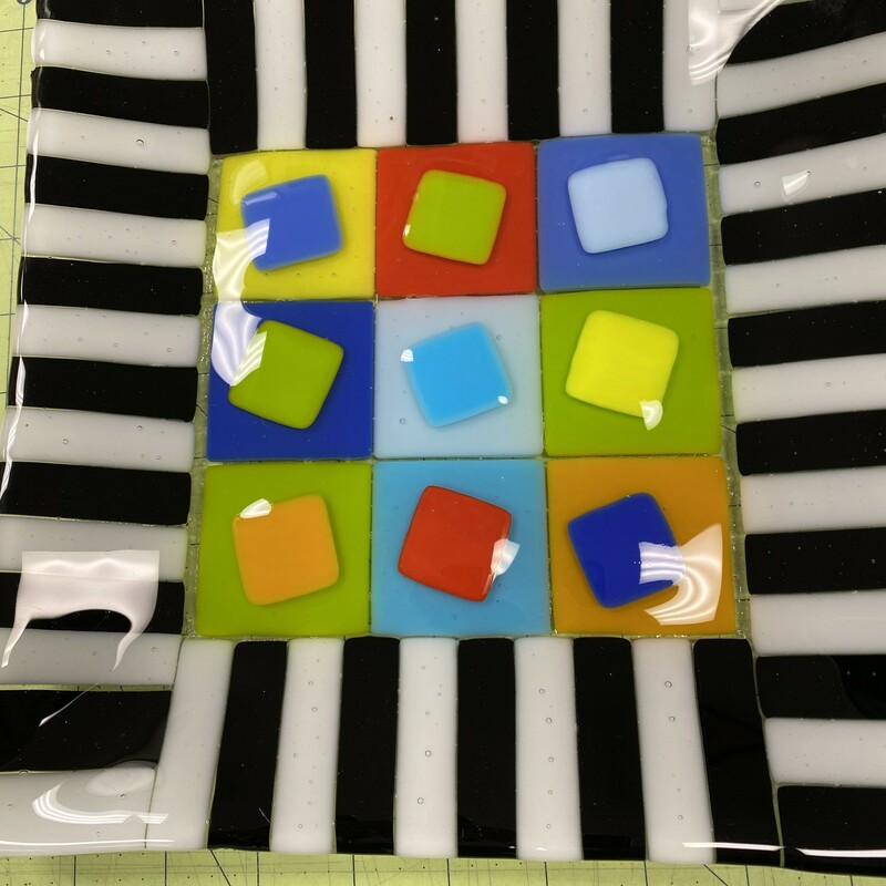 Square Fused Glass Platte.