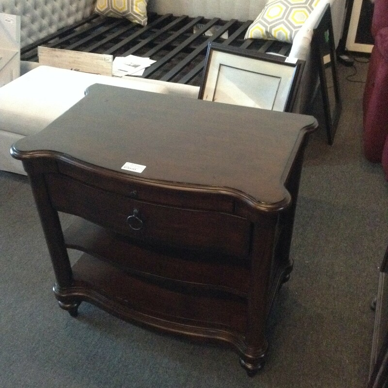 "Wood Nightstand 1 Drawer, Wood, 2 Shelves<br /> 31"" wide x 18\"" deep x 29\"" tall"