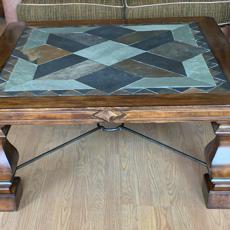 "Slate Top Coffee Table, Dark, Square<br /> Size: 41"" x 41\"" x 18\"""