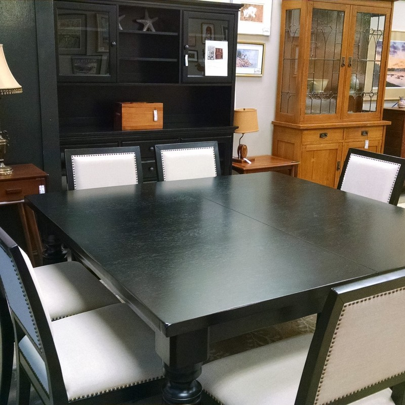 Pottery Barn Amherst 5x5, Black, Size: 5x5<br /> 10 Chairs<br /> 2-leafs 16&quot; each makes table 102 inches x 5ft