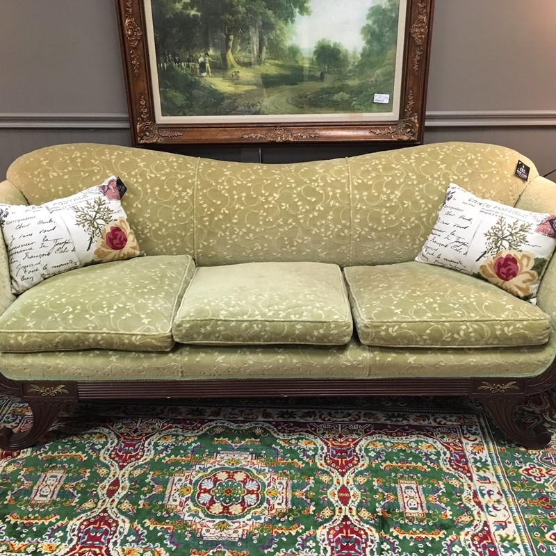 Beautiful antique light green couch.  Come in and take a look!