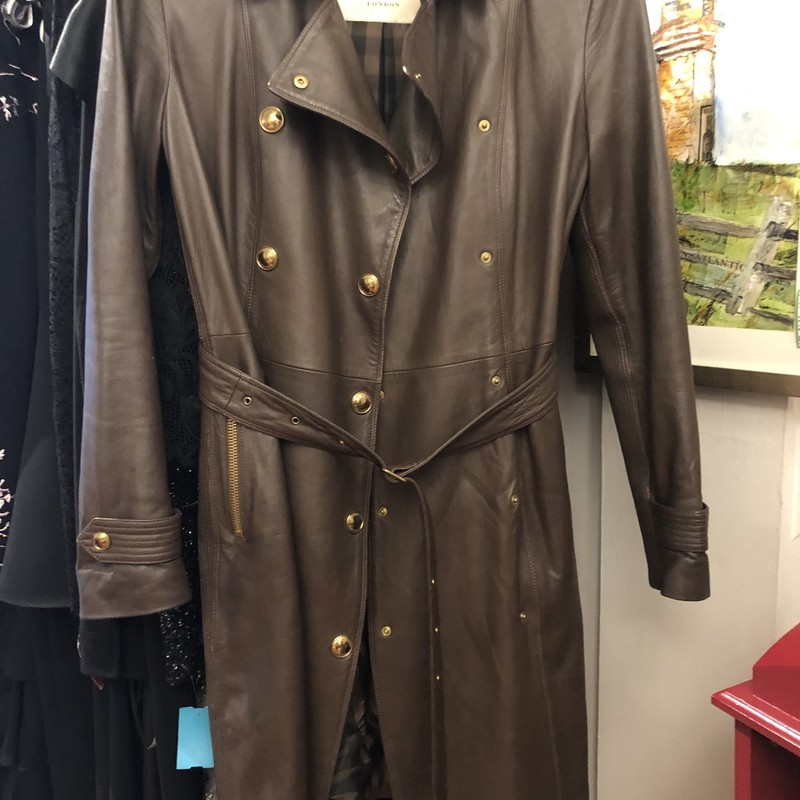 Burberry Leather Trench Coat size 8. Excellent condition, very gently worn and well cared for.