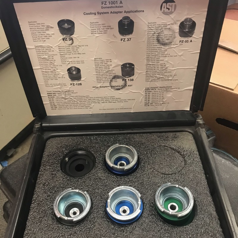 Assenmacher Specialty Tools FZ1001A - Cooling System Adapter Set. Excellent Like New Condition.