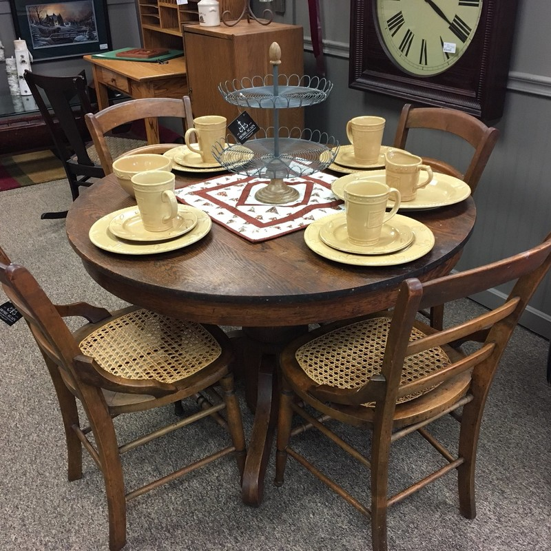 Rustic farmhouse pedestal table.  Includes 4 chairs.  Stop in to take a look.