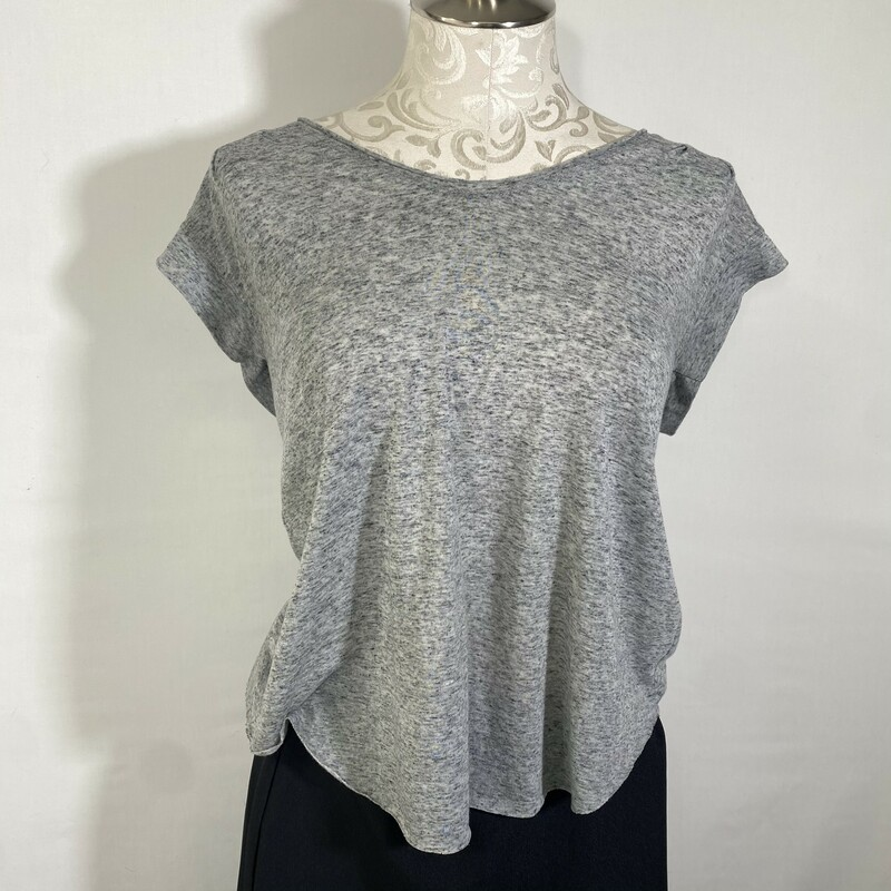 100-562 Rebecca Taylor, Gray, Size: Small Grey Jersey Top with back detailing Polyester/Linen