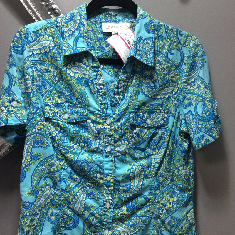 Jones Of New York Pockets,,,, blue paisley, size small.