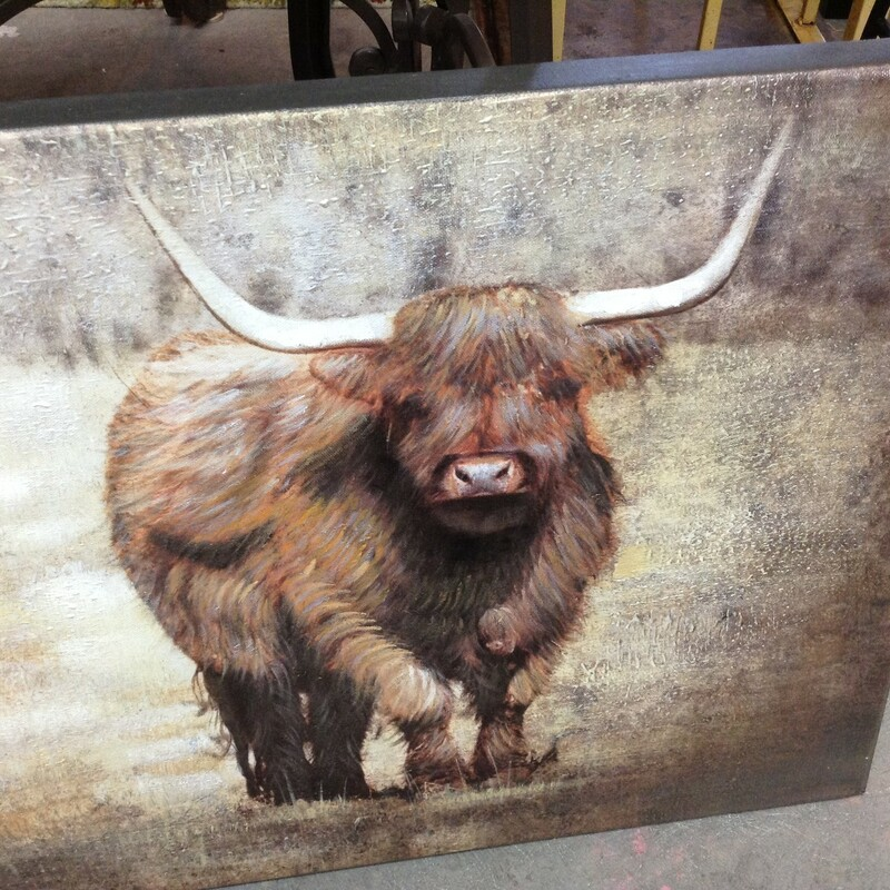 Bison Canvas Wrap, Multi, W/ Horns<br /> 24'' wide x 16'' tall