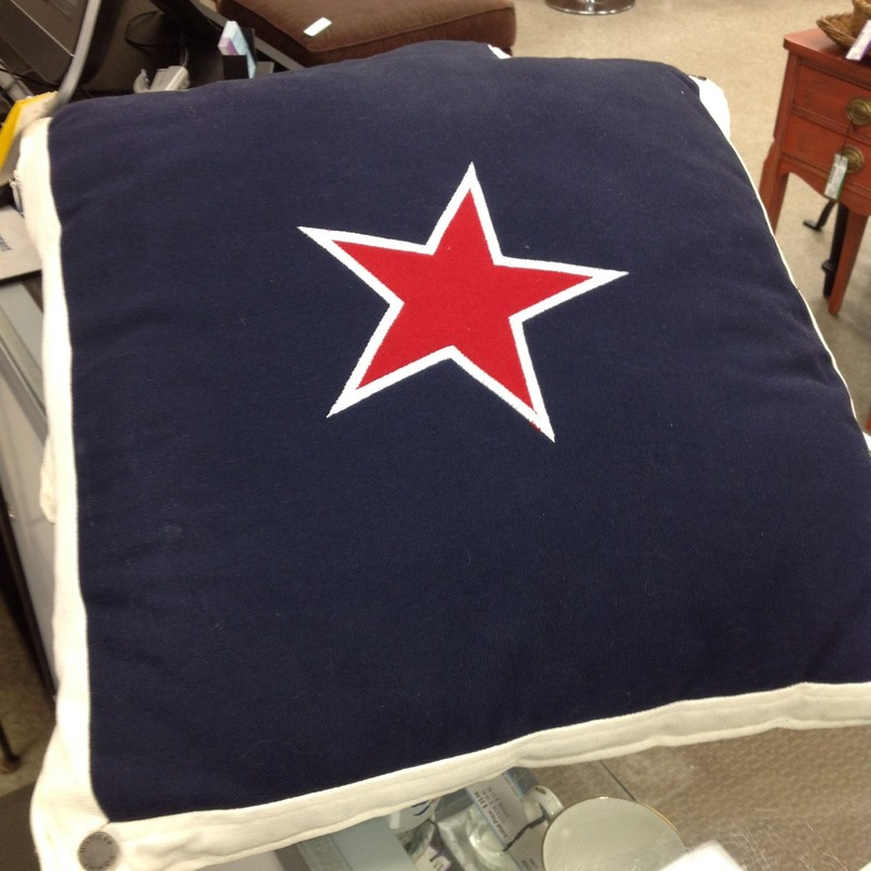 Nautical Star Pillow, Blue/Wht, Size: None