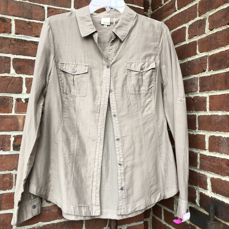 Ecru Button Down Blouse size L