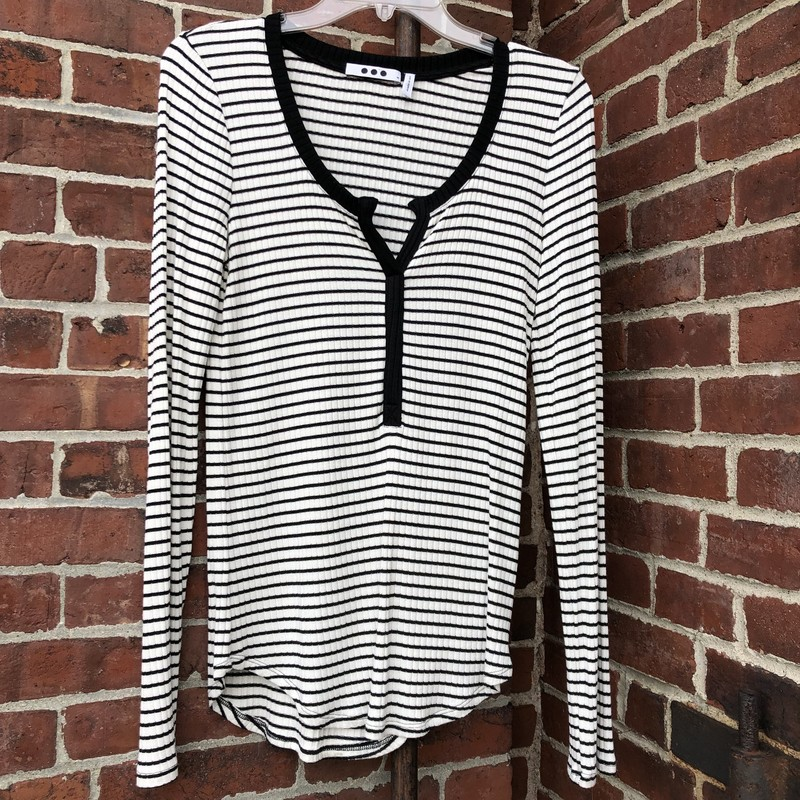 Three Dot Henley Stripe Cotton Tee, excellent condition