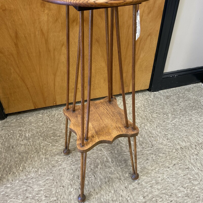 Antique Victorian Plant Stand, Dark Oak, Size: 12x30 Inch<br /> Round bun feet, double spindle legs.