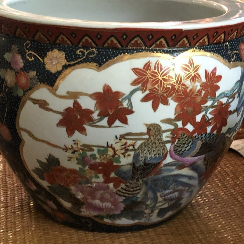 Red-Gold Birds Fishbowl, Vintage, Size: 10t 14w<br /> <br /> The noble families of ancient China used large bowls such as ours to protect their pond carps from the freezing cold of winter. Used today as a cachepot, it gives a large plant a highly decorative place to put down roots.