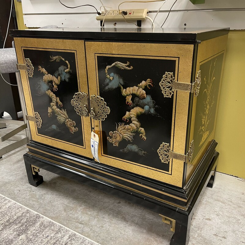 Black/Gold Asian Dragon Cabinet, 2 Doors.<br /> Size: 30x30x18in<br /> <br /> This item is not eligible for shipping - local pickup only.