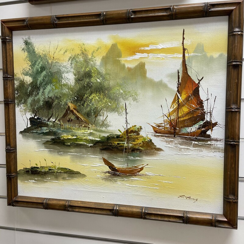 Chinese Junk Boat Paintin.