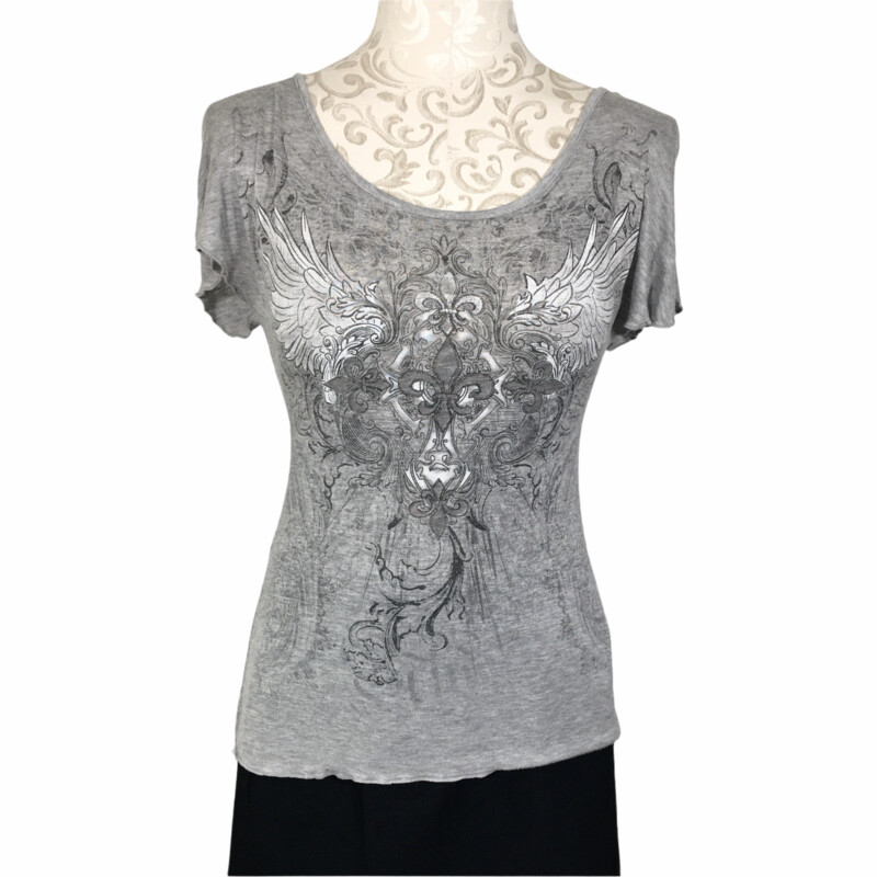 110-142 Joyce Leslie, Gray, Size: Medium Gray top with black designs on front