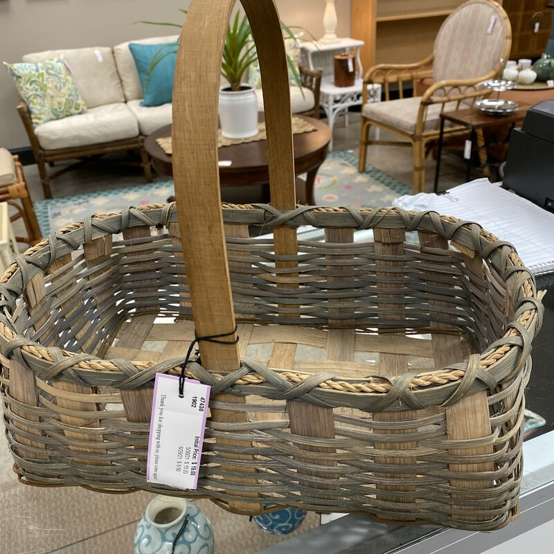 Rectangle Handled Basket, Beige, Size: 14x9x6 In