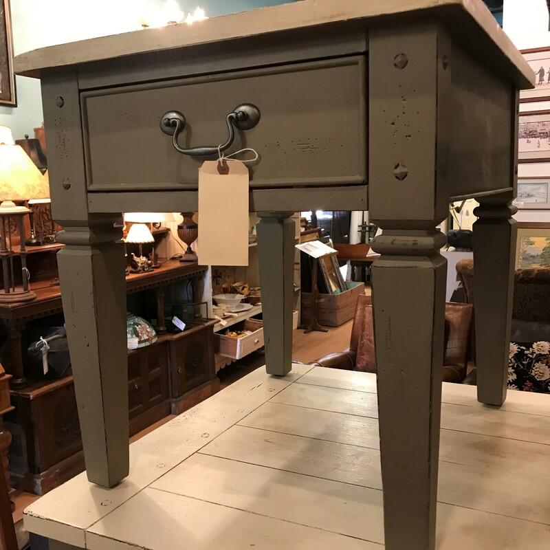"Side Table, Grey, 1 Drawer<br /> Size: 27"" x 24\"" x 23\"""