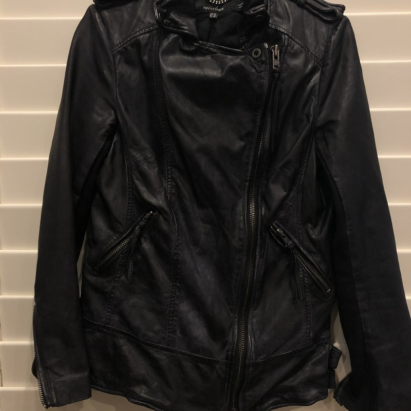 Muubaa Leather Jacket. Intentionally distressed, zipper slightly to the side.