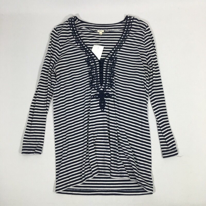 110-049 J Crew, Blue And, Size: Small<br /> Blue and White Striped Shirt With Embroiderede Details