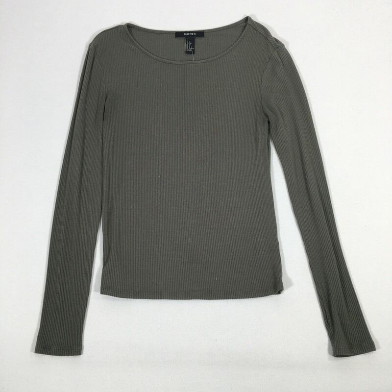 100-288 Forever 21, Green, Size: Small<br /> Green Ribbed Long Sleeve