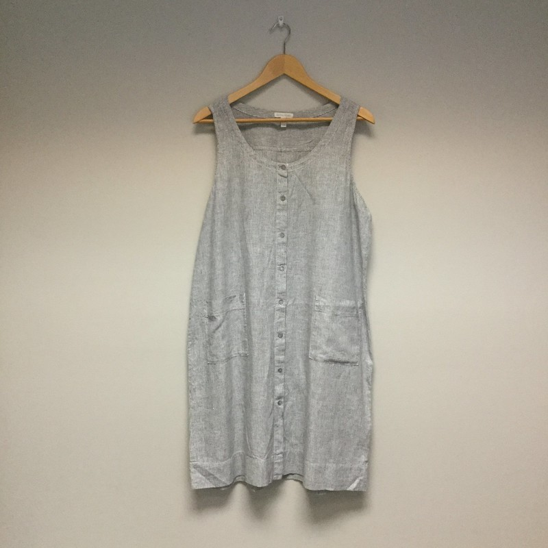 Eileen Fisher Finely Striped Button Up<br /> Size L<br /> Grey/White<br /> $33.00
