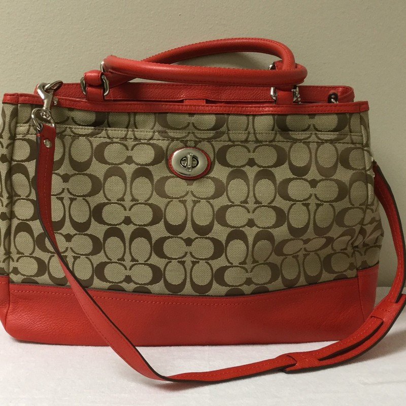 NWT Coach 3 Handle Messenger Bag<br /> Size M/L<br /> Tan/Fire<br /> $117.00