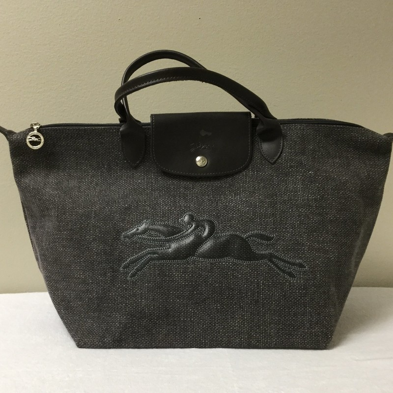 Longchamp Canvas 2 Handle Tote<br /> Size Large<br /> Color Dark Grey<br /> Price $65.00